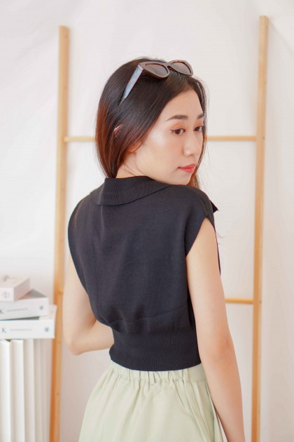 Mon Paris Collar Knit Top in Black