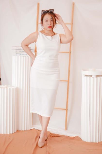 Posh Doll Halter Midi Dress in White
