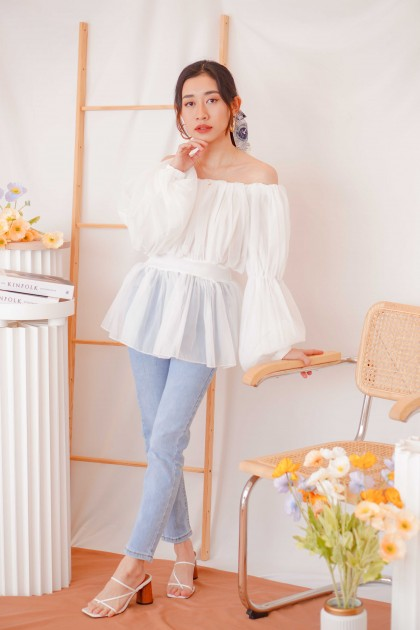(BACKORDER) Grace Fairy Puffy Off Shoulder Top in White