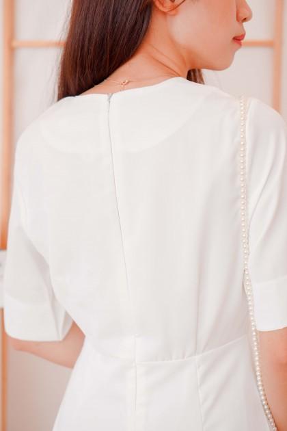 Lady in White Square Neck Dress in White