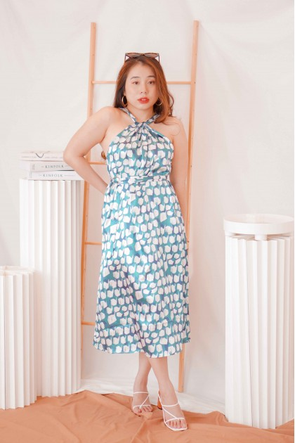 Bahamas Love Twisted Halter Dress in Green