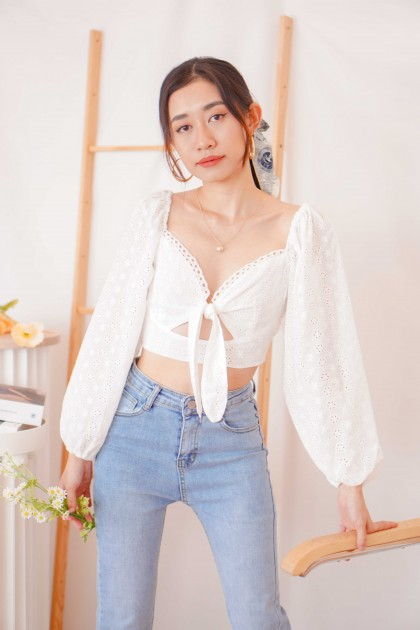 (BACKORDER) French Muse Front Tie Top in White