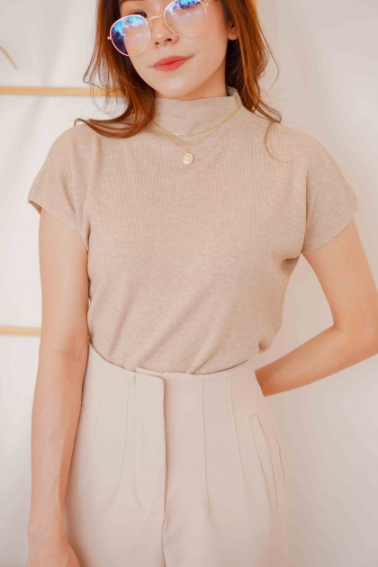 Tania High Neck Top in Brown