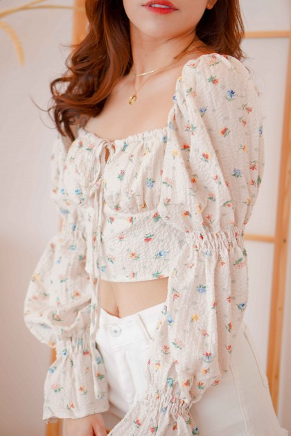 Sultry Summer Floral Long Sleeve Top in Beige