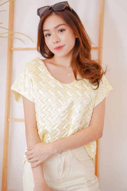 Sunday Society Weave Tee in Light Yellow