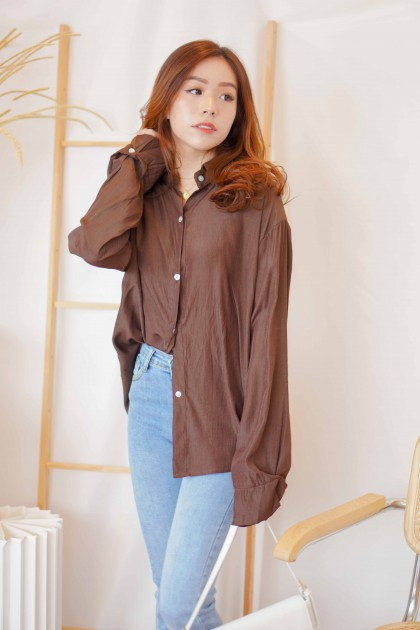 Asher Button Down Collar Top in Brown