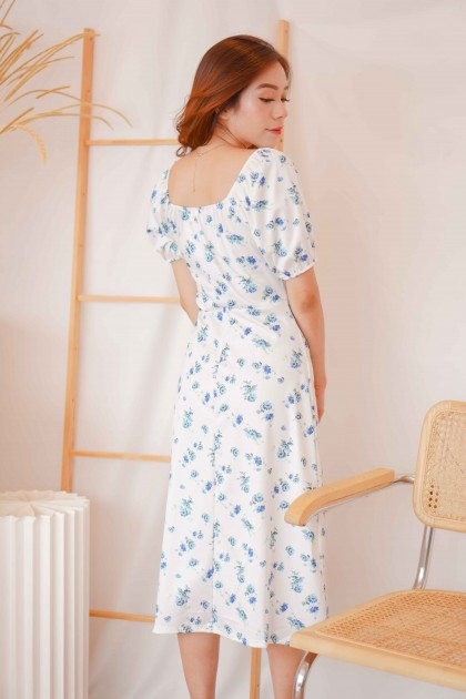 Love Dawn Floral Midi Dress in White