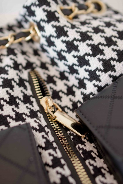 Paris Party Houndstooth Bagpack