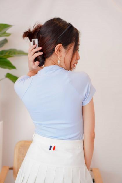 Keira Basic Scoop Neck Top in Blue