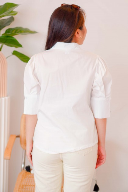 Lead Girl Button Collar Top in White