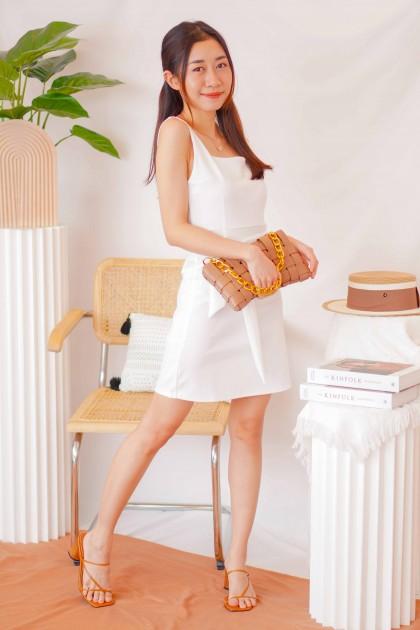 Cold Senses Square Neck Bodycon Dress in White