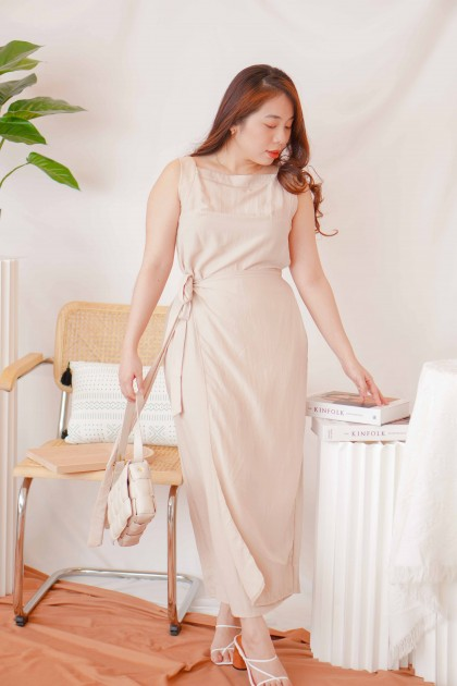 Greece Dream High Neck Dress in Beige