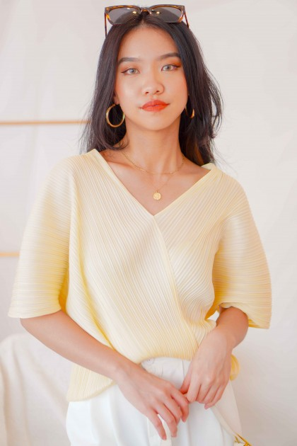 Zoe V Neck Pleated Top in Yellow