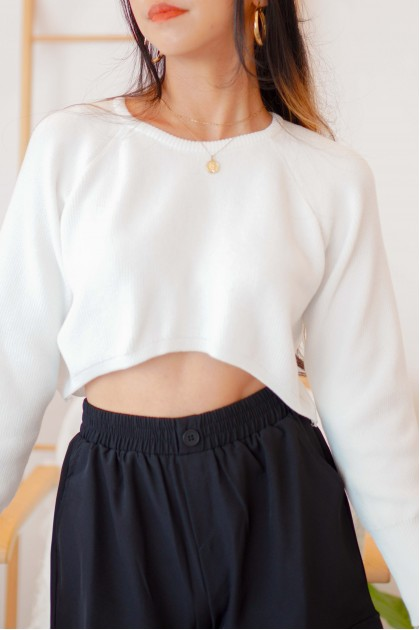 Power Move Knit Sweater in White