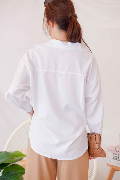 Constance Oversized Button Down Top in White