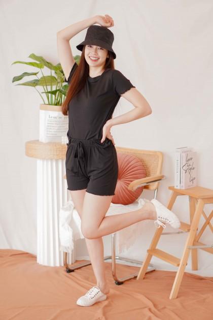 Mori 2 Piece Pyjamas Set in Black