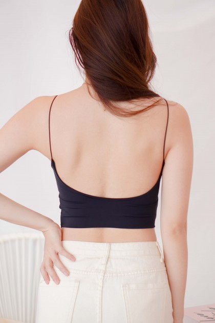 Jenna Padded Camisole Top in Black