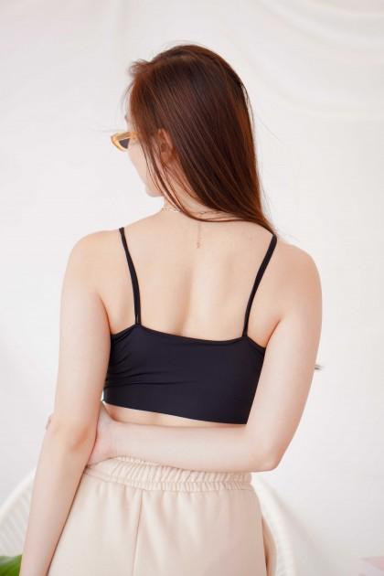 Sophie Padded Crop Top in Black