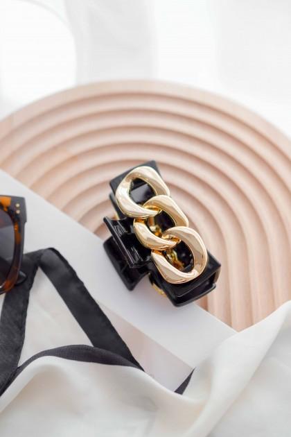 Gold Faith Chain Hair Clip in Black