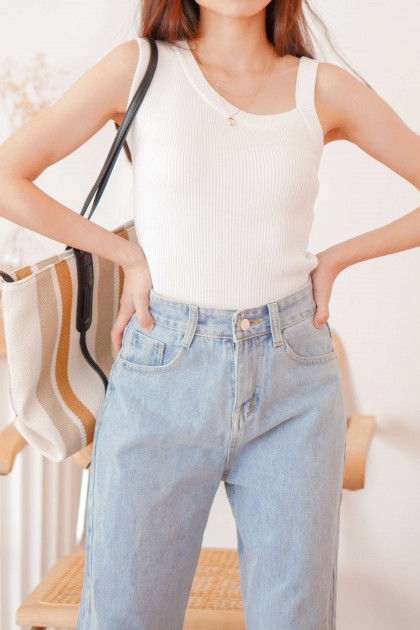 White Sky Knit Toga Top in White