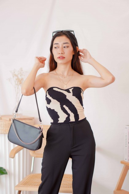 Cold Stone Printed Tube Knit Top