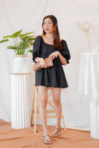 Inky Dream Babydoll Tie Back Dress in Black