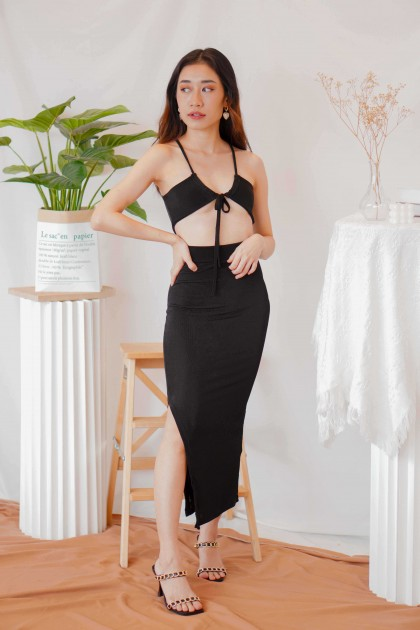 Wine And Dine Cut Out Dress in Black
