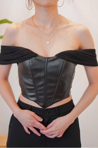 Golden Angel Drape Corset Top in Black
