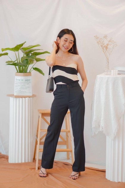 (BACKORDER) Midnight Free Layered Tube Top in Black White