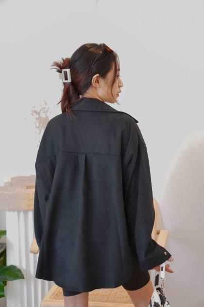 Kade Button Down Top in Black