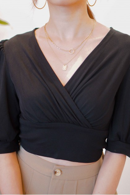 Past Love V Neck Puffy Sleeves Top in Black