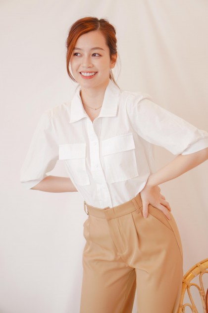 Rise Above Button Down Top in White