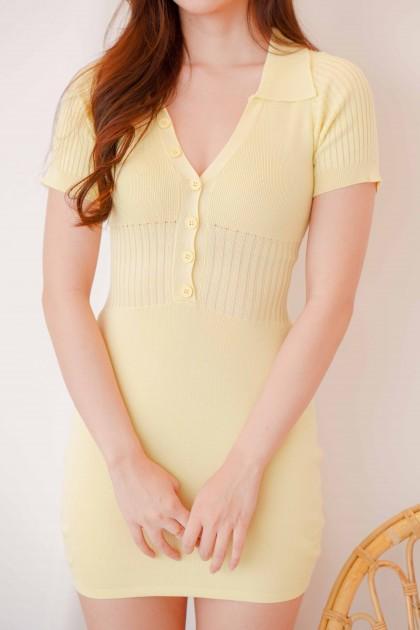 Lemon Daisy Bodycon Knit Dress in Yellow