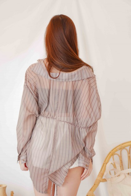Snug Mood Stripes Button Down Top in Brown