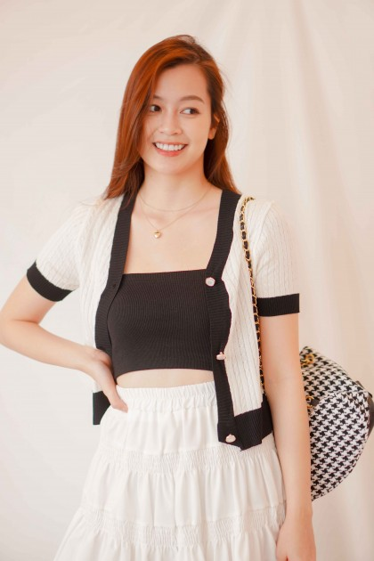 Chapter One Short Sleeve Knit Cardigan in White