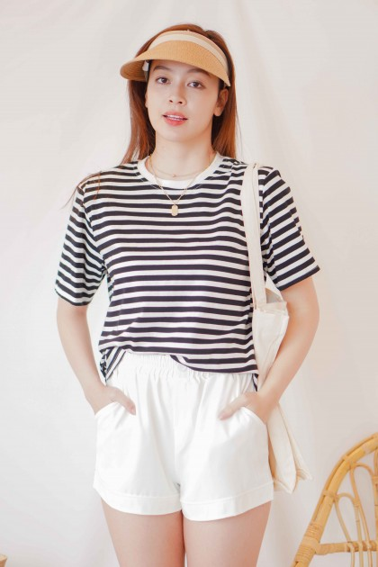 New You Stripes Padded Shoulder T-Shirt