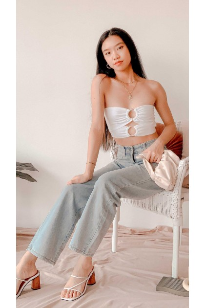 Key to Heart Tube Cutout Top in White