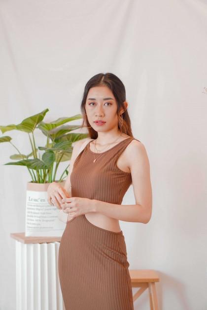 Hot Cocoa Maxi Cutout Dress in Brown