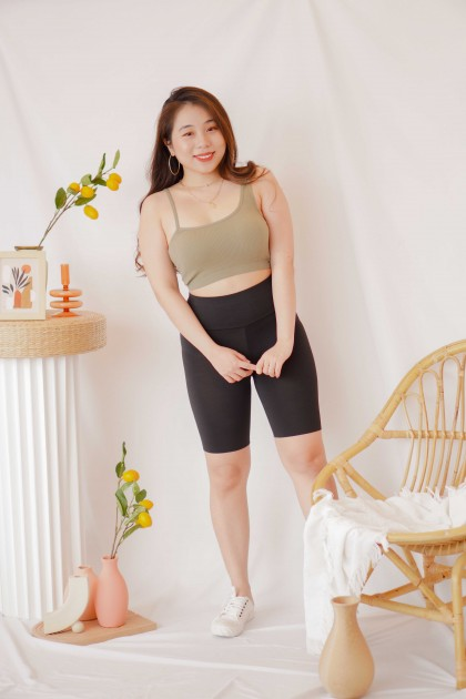 Tone Up Toga Padded Crop Top in Green
