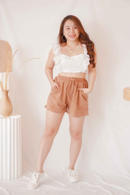 Butter Pie Lounge Shorts with Drawstring in Khaki