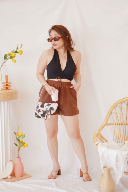 Butter Pie Lounge Shorts with Drawstring in Brown