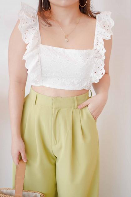 Resort Summer Ruffle Crochet Top in White