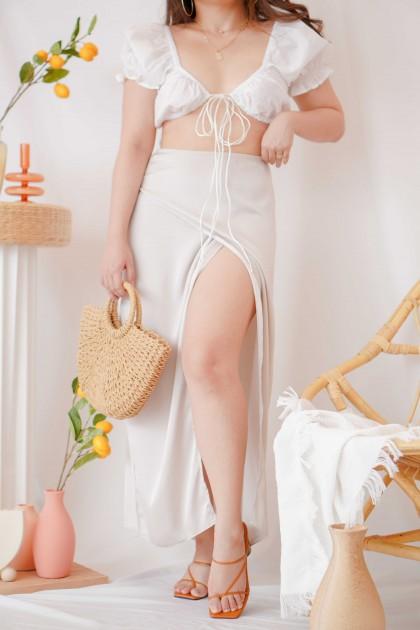 Sand Angel Slit Satin Skirt in Champagne