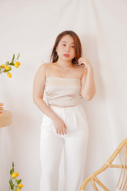 Moon River Satin Crop Top in Champagne