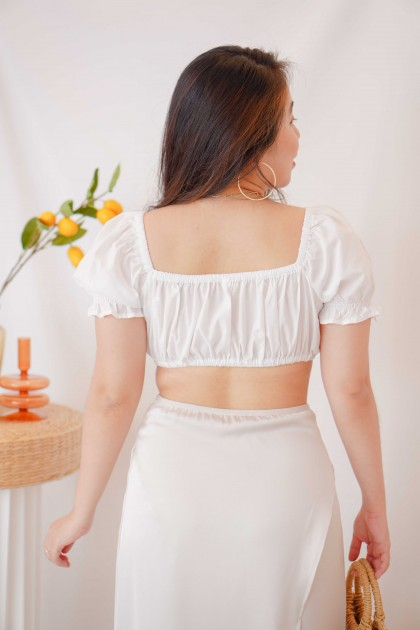 Sun Lover Puffy Sleeves Crop Top in White