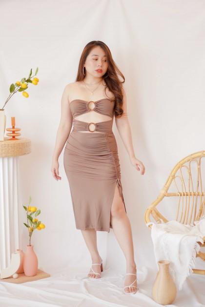 (BACKORDER) Fine Dune Tube Cutout Dress in Khaki