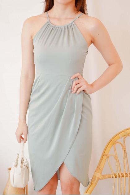 Slate Beauty Halter Neck Dress in Teal Blue