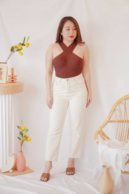 French Class Halter Knit Top in Brown
