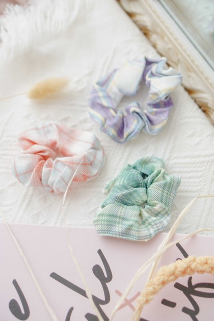 (BACKORDER) Checkered Scrunchies Hair Tie (FOR 2)