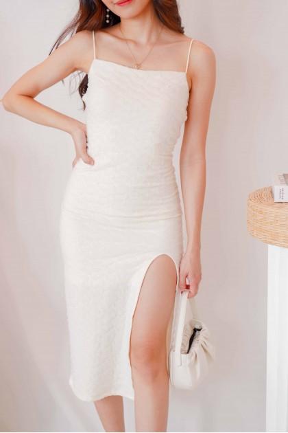 (BACKORDER) Fairy Dust Bareback Slit Midi Dress in Cream